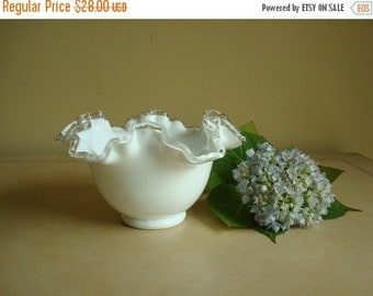 Fenton Silver Crest 7 in. milk glass bowl, candy dish, collectible Silvercrest, shabby cottage style white serving bowl