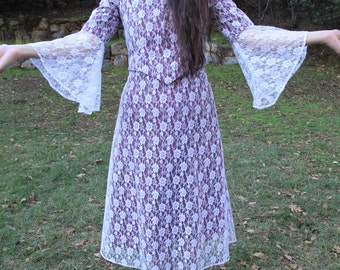 CHEERS - 1970s Burgundy White Lace Dress Two Piece Set Bell Sleeves Gypsy Boho Bohemian Folk Festive Holiday Christmas Button Back XS S