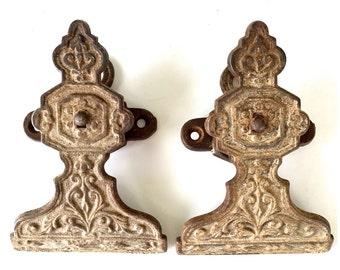 2 Antique Pew Clip Cast Iron Church Hat Holder Repurpose Art Nouveau Art Display
