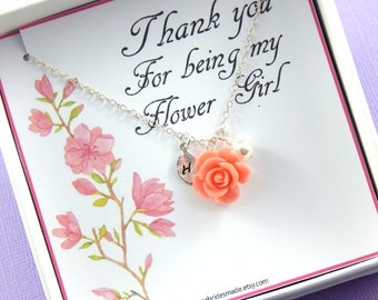 Flower Girl Thank You - Gift Boxed Jewelry Flower Girl Necklace Personalized hand stamped leaf  Flower Girl Gift Junior Bridesmaids