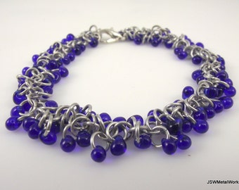 Blue Beaded Chainmail Bracelet, Blue Chainmaille Bracelet, Aluminum Bracelet, Glass Bracelet