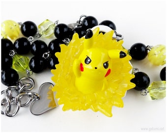 Pikachu Necklace, Black and Yellow, Stainless Steel, Beaded, Chunky, Pokemon Jewelry, Gamer Gifts
