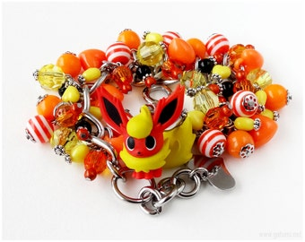 Flareon Bracelet, Orange, Yellow, OOAK, Eevee, Pokemon Bracelet, Stainless Steel, Pokemon Figure