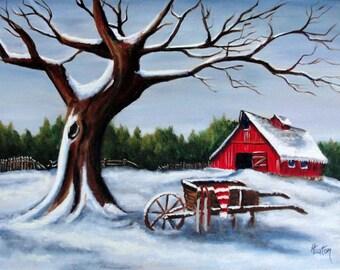 Winter Landscape, Winter Painting, Snow Painting, Red Barn Painting, Farm Landscape, Oil Painting, Red Barn, Helen Eaton