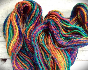 Handspun art yarn - Aran worsted weight - wool - knitting crocheting yarn - colorful rainbow yarn - fun yarn - unique gift for a knitter