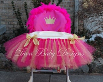 High Chair Cover & tutu Light pink and gold hot pink and gold Princess crown 1st 2nd birthday girl high chair decorations made in ANY colors