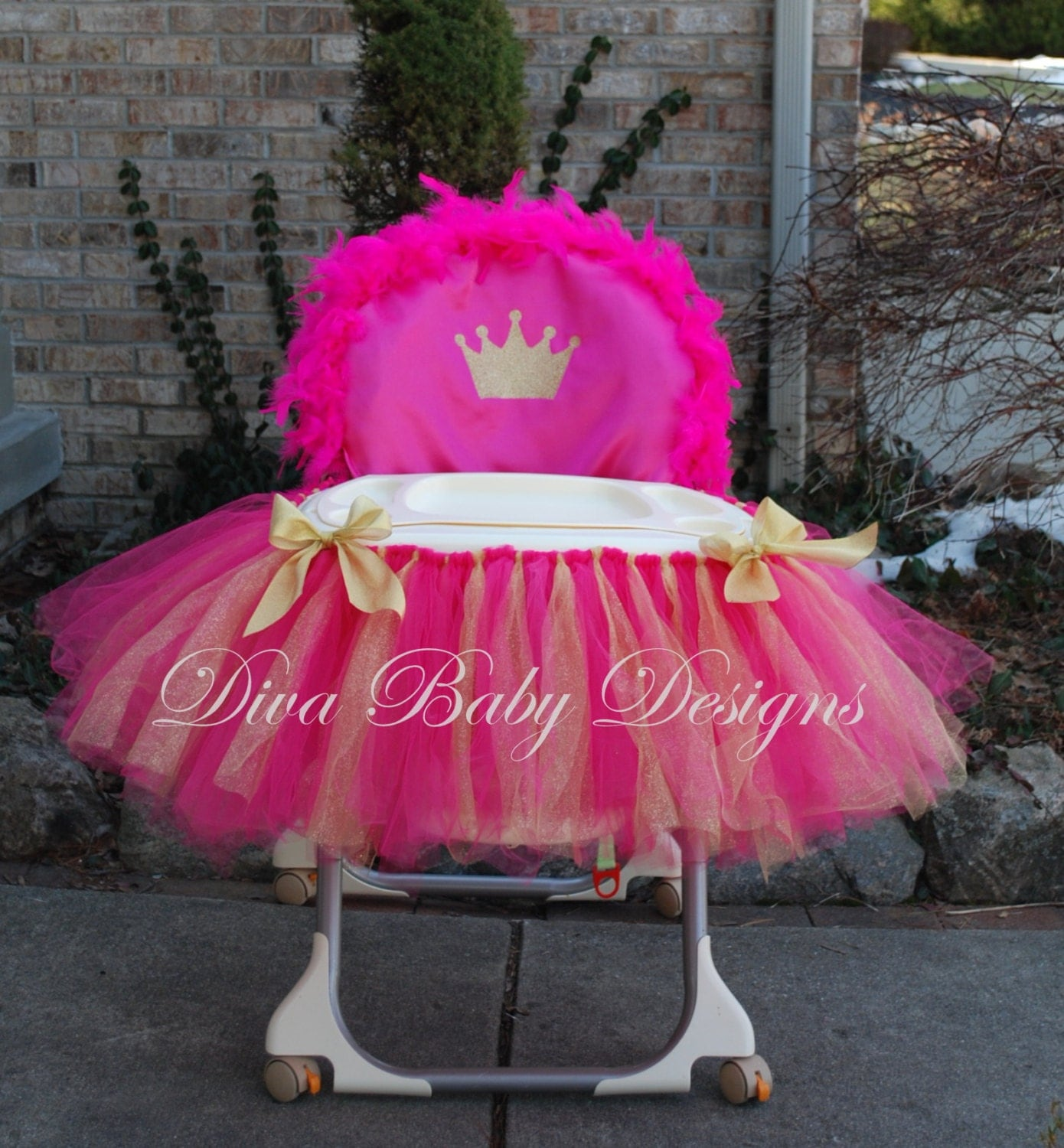 High Chair Cover & tutu Light pink and gold hot pink and gold