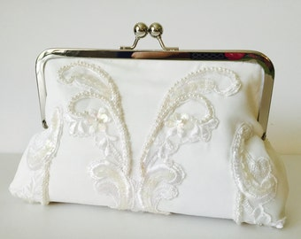 BRIDAL CLUTCH beaded and lace, made from moms or grandmas treasured wedding dress. Formal Clutch