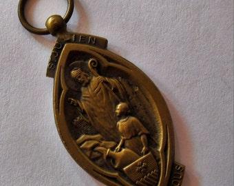 Antique Religious Medal Saint Julian Madonna Of The Oak Saint French Catholic Pendant  SS275