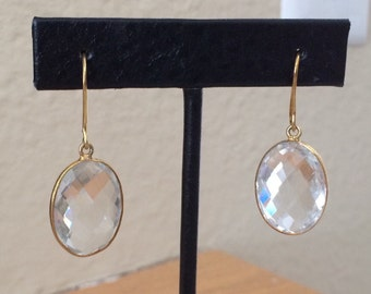 Clear Quartz and gold earrings--SALE