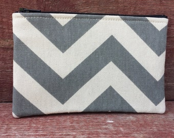 Medium Zipper Pouch Gray Chevron Handmade in Iowa
