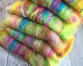 Fiber Art Batt Spinning Felting Roving Top  - (Textured) Alpaca/Merino/Silk Noil PSYCHEDELIC POWERS - 2 oz
