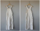 Vintage Denim Overalls  | Lee Overalls | White Overalls | Cream Cotton Overalls | Denim Workwear