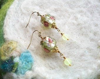 Dainty Lamp Work Bead Earrings, Moss Glass with Tiny Lemon Dangle