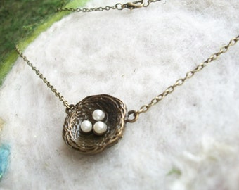 Bird Nest Necklace, Simple Bronze Bird Nest Necklace with Three Pearls