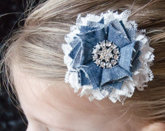 Hair Bow - Denim Chic Hair Flower, Girls Hair Bow, Baby Hair Bow
