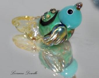 CremeSoda Lampwork bird bead