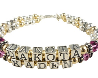 Gold and Silver Name Bracelet - Mother Grandmother Grandma- child name - any personalization & swarovski birthstone crystals