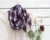 Plaid Blanket Scarf, Black, Grey and Red Plaid Scarf, Chunky Scarf, Oversized Scarf, Flannel Plaid Scarf, Winter Scarf, Jannysgirl