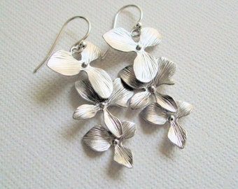Orchid Earrings Silver, Orchid Trio, Sterling Silver Ear Wires, Gift for, Her, Mother's Day, Birthday, Christmas