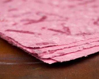 Handmade Recycled Paper - Textured Pink with Glitter