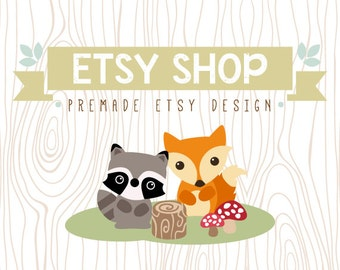 Etsy Shop Banner Avatar Set, Etsy Shop Cover Shop Icon, Premade Etsy Design Package, Wood Forest Design, Fox, Raccoon, Wood Pattern