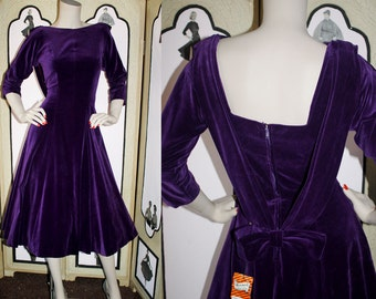 Unworn 50's Velveteen Dress in Royal Purple from Merrimack. Small.