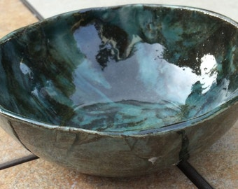 Small Marbled Bowl Stoneware Clay Green and Black 5 inch