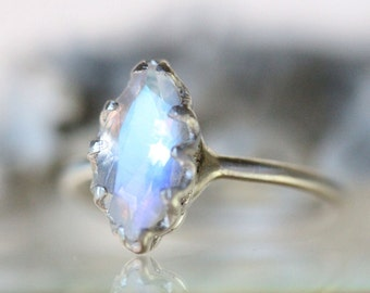 Genuine Marquise rainbow moonstone No Nickel Sterling Silver Ring, Gemstone RIng, Marquise Shape Ring, Eco Friendly Ring - Made To Order