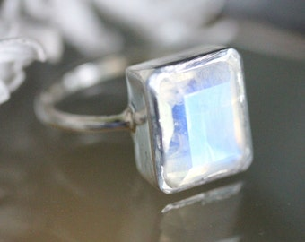 Emerald Cut Rainbow Moonstone Sterling Silver Ring, Cocktail Ring, Gemstone Ring, Recycled Gold, Eco Friendly, No Nickel - Made To Order