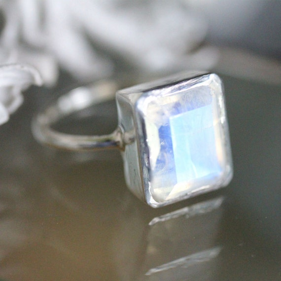 emerald cut rainbow moonstone sterling silver ring cocktail