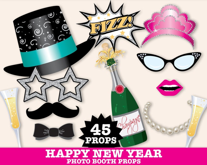 New Years Eve Photo Booth Props, New Years Eve Party, New Years Decor, Hostess Gift- Instant Download PDF 45 DIY Printable Props