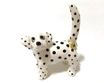 Dalmatian Ring Holder, Hand-Built Dalmatian Sculpture, Dalmatian Art