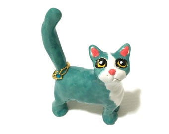 Cat Ring Holder, Anime Cat Art, Jade Cat Ring Holder, Hand-Built Cat Sculpture