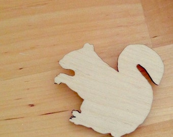Squirrel Pin - Woodland Animal - Lasercut Wood - Animal Brooch - Large Size