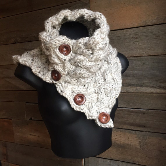 Chunky Knit Cowl Chunky Button Scarf Cable Cowl by franklymadetn
