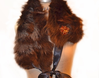 Brown Mink and Fox Neck Warmer- 4 Way Scarf