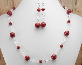 Necklace and Earring Set - Burgundy Glass Beads - Dark Red - Maroon and Clear with Silver