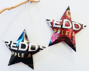 Redd's Apple Ale,  Christmas Ornament, Recycled, Upcycled, Decor, Star from Can
