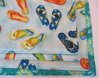 Flip Flop Placemats Reversible Beach Placemats Flip Flop Placemats Nautical Placemats Summer Beach Placemats Turquoise Placemats