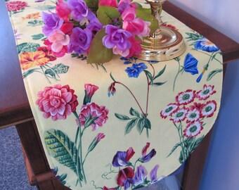 """Yellow Floral 36"""" Table Runner Reversible Spring Floral Runner Yellow Bontanical Garden Runner Marigold Runner Morning Glory Table Runner"""
