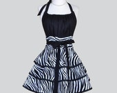 Flirty Chic Womens Aprons , Full Retro Kitchen Cooking Apron in Sexy Black and White Zebra Animal Handmade Hostess Cute Womans Apron
