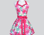 Sweetheart Retro Womans Apron / Cute Vintage Kitchen Apron in Summer Love from Dear Stella Flirty Full Sexy Womens Cooking Apron