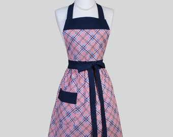 Full Bib Womens Apron / Plaid check gingham all in a Red White Blue Cute Full Vintage Inspired Kitchen Apron Personalize or Monogram