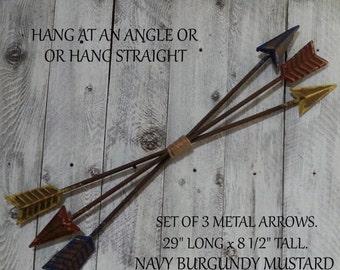 Fall Sale 3 Metal Arrows Wall Decor Wall Hanging / NAVY BURGUNDY MUSTARD / Southwest / Bohemian / Indian Art / Indoor Outdoor Porch Decor /