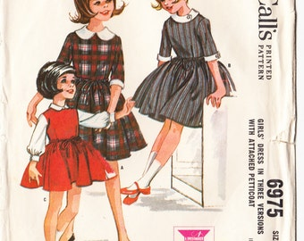 Vintage 1963 McCall's 6975 Sewing Pattern Girls' Dress in Three Versions with Attached Petticoat Size 8