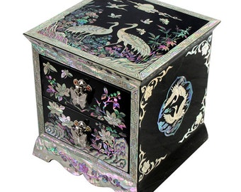 Mother of Pearl Inlay Art Luxury Bird Lacquer Wood Drawer Jewelry Ring Earrings Brooch Necklace Treasure Keepsake Chest Box Holder Organizer