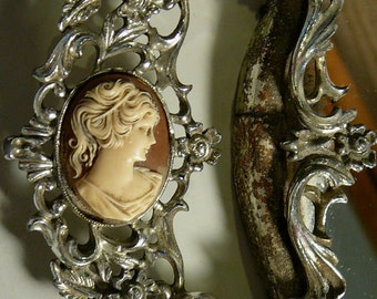 Hollywood Regency Cameo Tray Mirrored Silver Metal