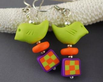 Folk Art Polymer Clay Birdy Earrings, checkerboard, green, orange, purple.