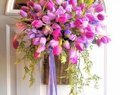 Sale! Shades of Pink and Lavender, Tulip Wall Basket Beautiful Door or Wall Decor, Wreath Alternative